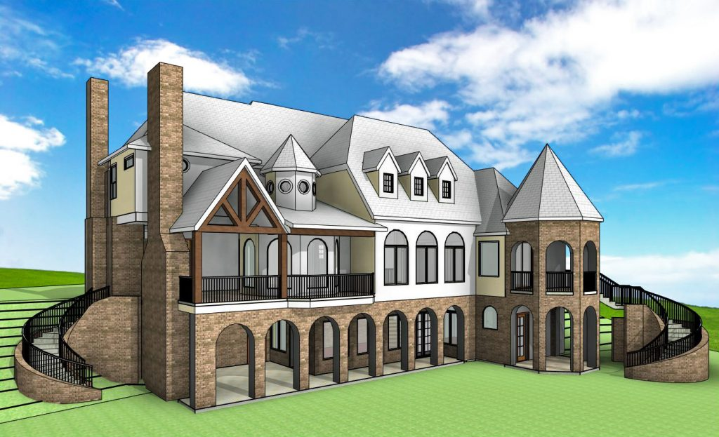 Rear 3D Perspective view of lake house