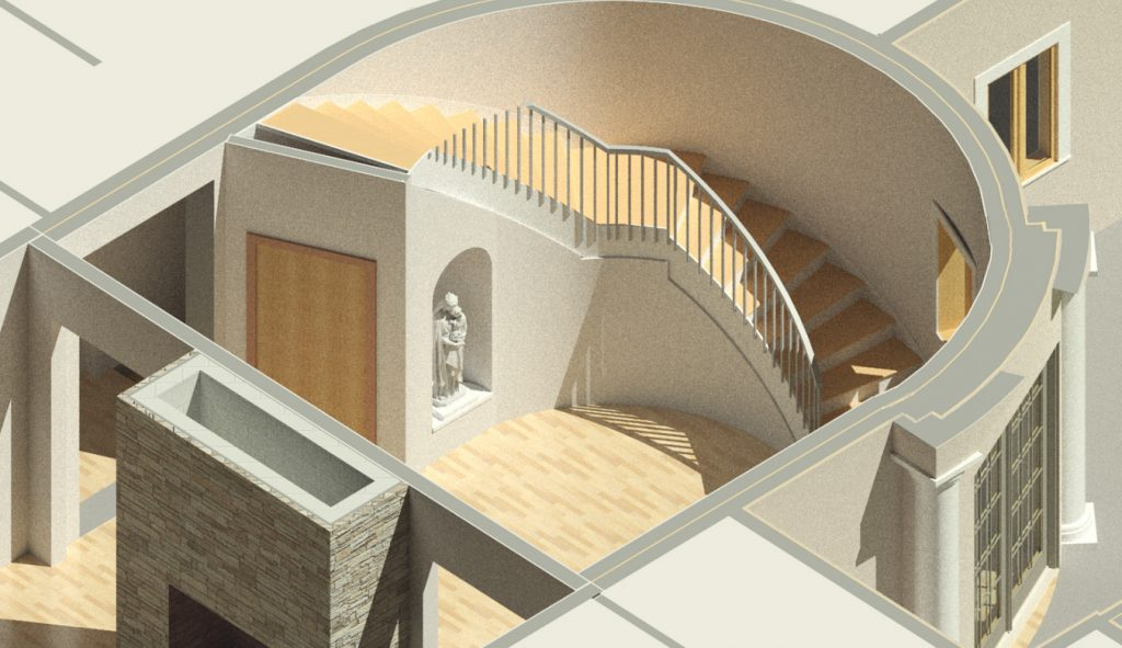 Cutaway view of foyer with sculpture niche
