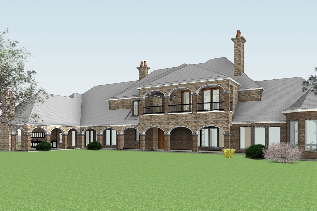 Country Residence Rear Perspective View