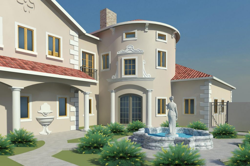 Ruidoso Residence Courtyard Rendered View