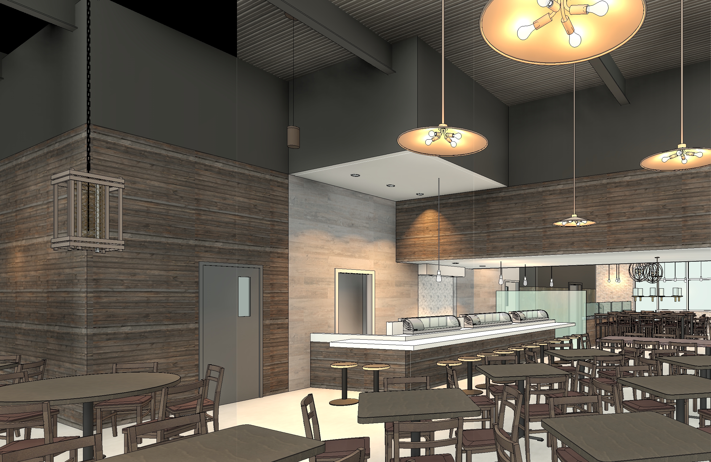 Restaurant interior revit model with custom lighting materials dining and sushi bar area with custom lighting fixtures arubaitofo Image collections