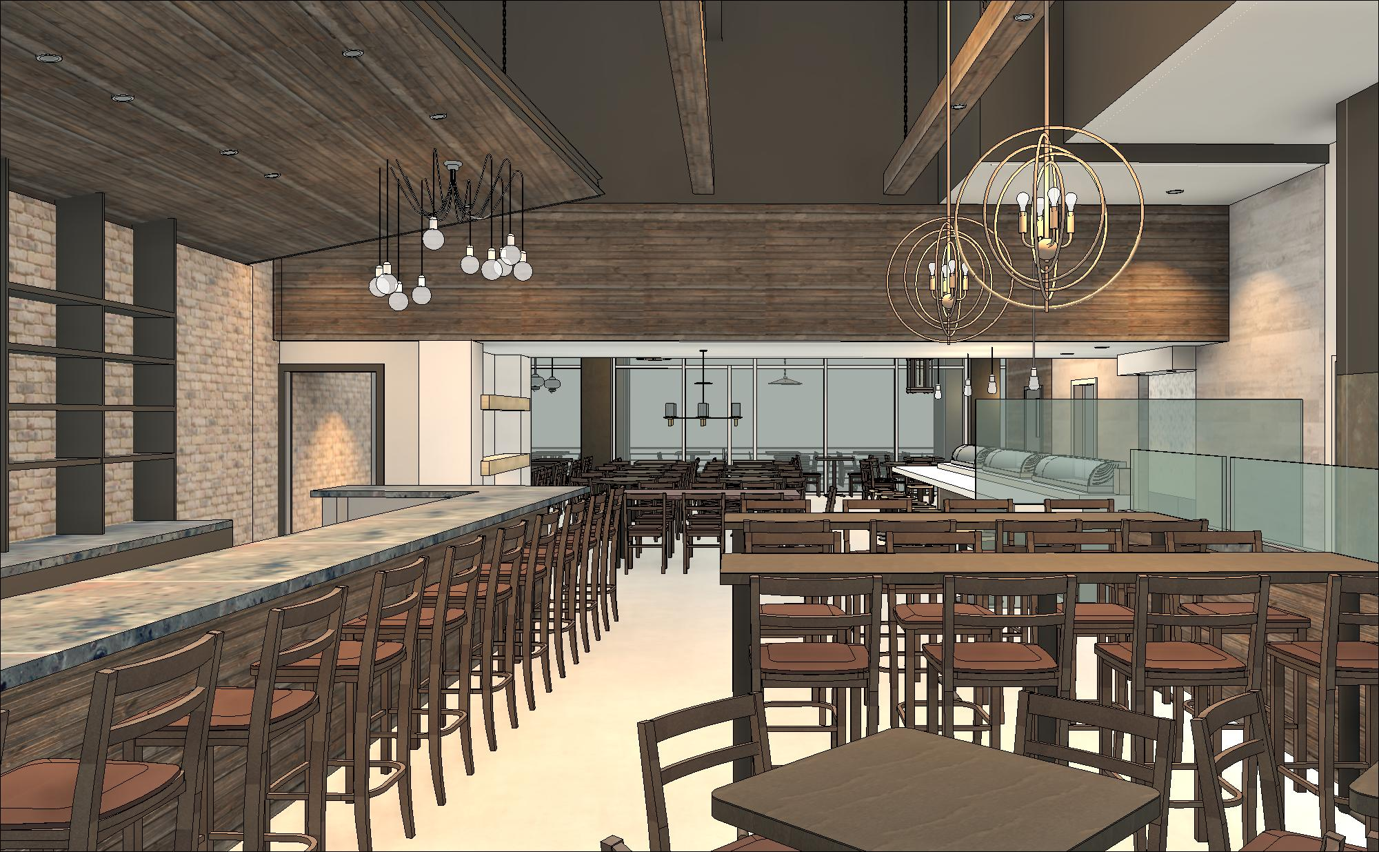 Restaurant interior revit model with custom lighting