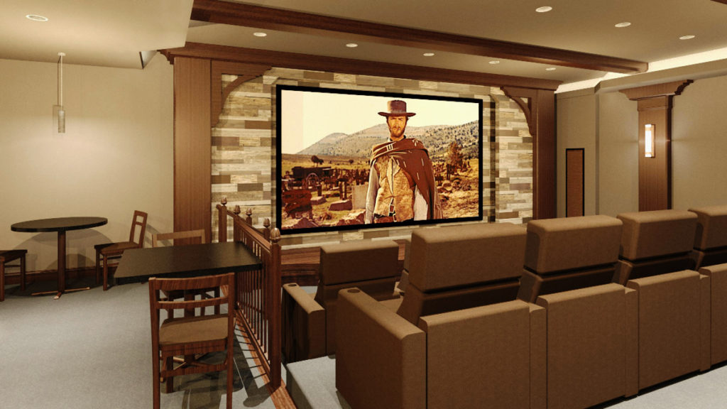 Rendered perspective view of home theater