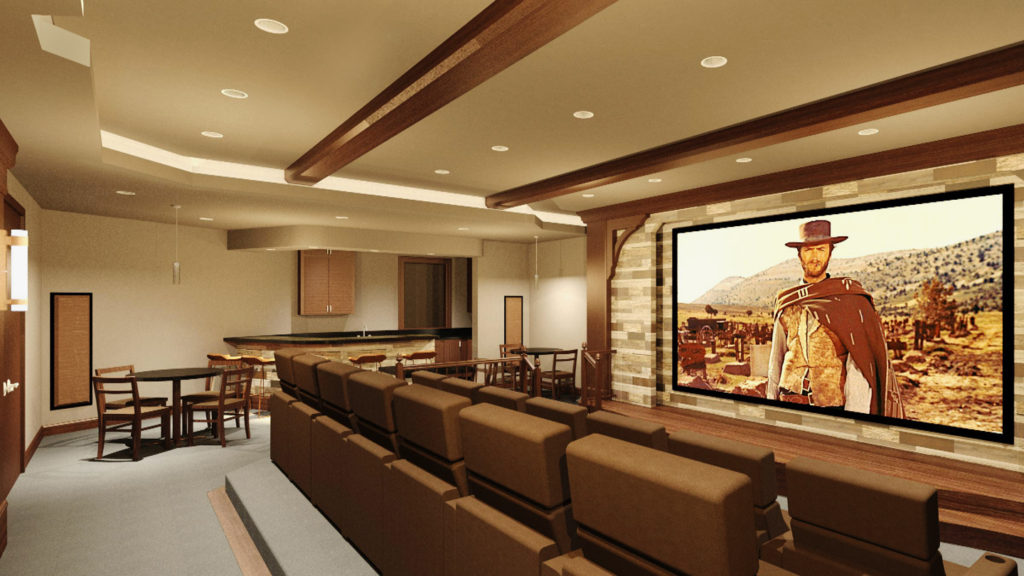 Rendered perspective view of home theater looking toward bar